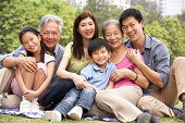 Portrait Of Multi-Generation Chinese Family Relaxing In Park Together Smiling To Camera