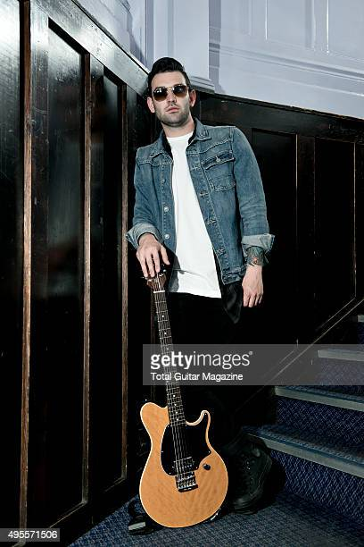 Portrait of musician Jack Fowler guitarist with American posthardcore group Sleeping With Sirens photographed backstage before a live performance at...