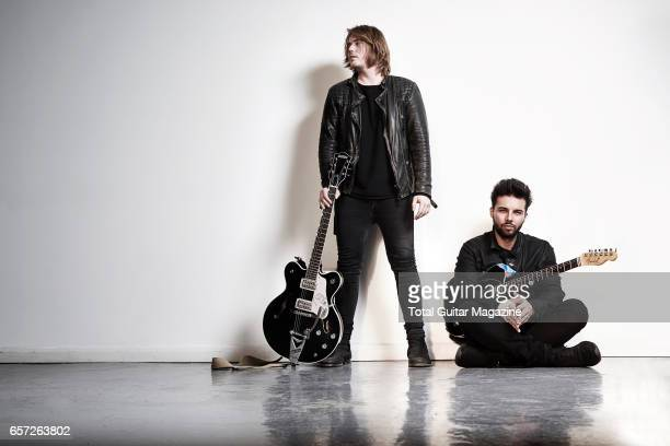Portrait of musicians Joe LangridgeBrown and Dominic Craik guitarists with English alternative rock group Nothing But Thieves photographed before a...