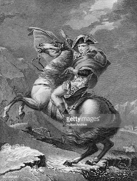 A portrait of Napoleon Bonaparte as First Consul of France crossing through the Alps and the Great St Bernard Pass into Italy on 20 May 1800 in...