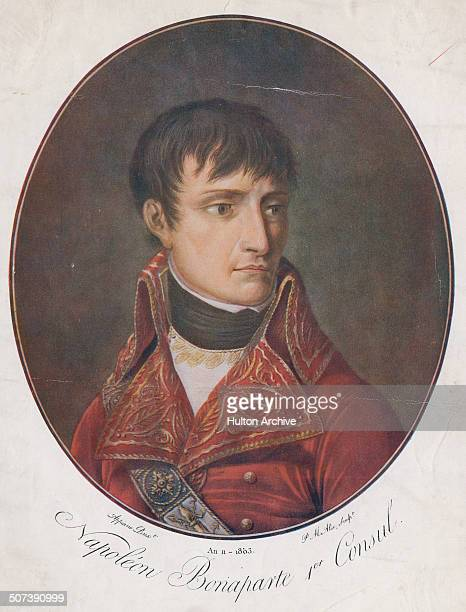 A portrait of Napoleon Bonaparte as First Consul of France on 1 June 1803 in Paris France An engraving by Pierre Michel Alix