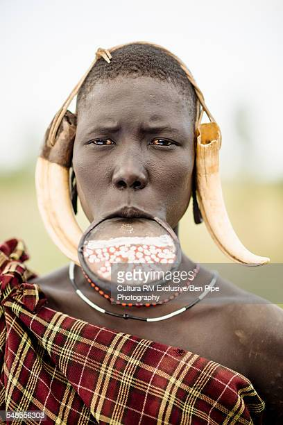 Portrait of Natmouy, Mursi Tribe, Chamolo Village, Omo Valley, Ethiopia