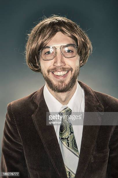 Portrait of Nerdy Scholar in Corduroy Jacket, Smiling at Camera