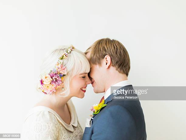 Portrait of newlywed couple