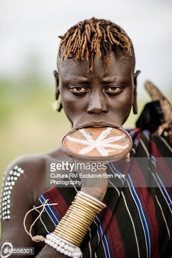 Portrait of Ngalonyai, Mursi Tribe, Minisha Village, Omo Valley, Ethiopia