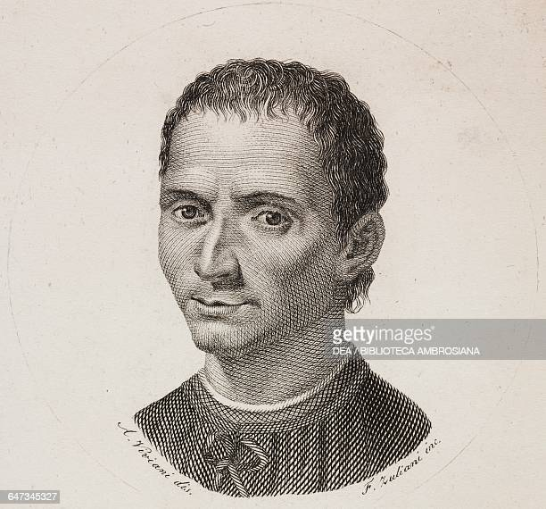 Portrait of Niccolo Machiavelli engraving by F Zuliani from a drawing by Antonio Viviani from Notizie su la commedia italiana avanti Carlo Goldoni...