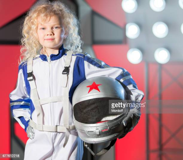 Portrait Of Nice Blonde Girl Astronaut