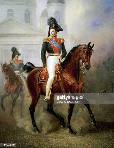 Portrait of Nicholas I of Russia riding Emperor of Russia painting by Schwabe 1843 Mosca Gosurdarstvennyj Istoritscheskij Muzej