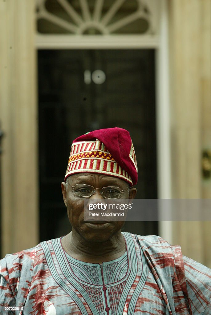 Portrait of Nigerian President Olusegun Obasanjo as he poses on Downing Street (for a meeting with British Prime Minister Tony Blair), London, England, July 29, 2003.