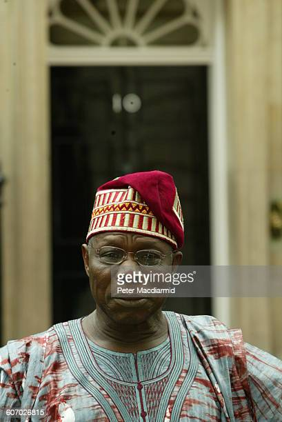 Portrait of Nigerian President Olusegun Obasanjo as he poses on Downing Street London England July 29 2003
