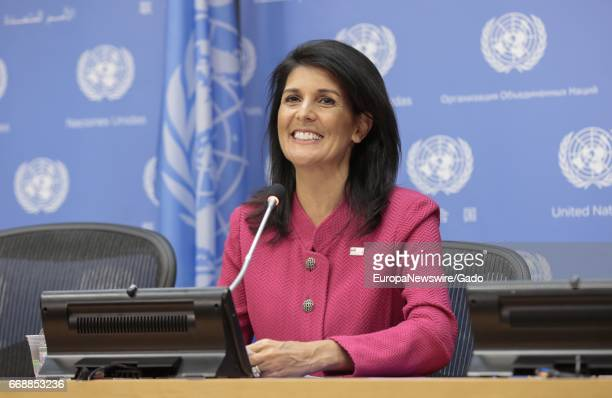 Portrait of Nikki Haley United States Permanent Representative to the United Nations and President of the Security Council for April smiling and...
