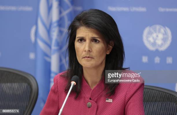 Portrait of Nikki Haley United States Permanent Representative to the United Nations and President of the Security Council for April frowning during...