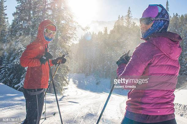 Portrait of nordic ski ladies on very cold day