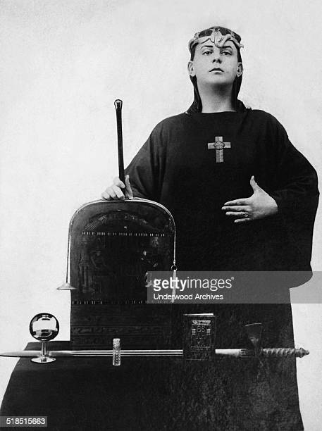 A portrait of occultist Aleister Crowley in ceremonial clothing England 1912