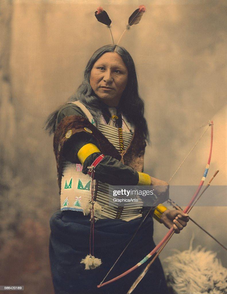 Portrait of Oglala Sioux Shout At handcolored platinum print 1899 Taken by the Heyn photographic studio in Omaha Nebraska