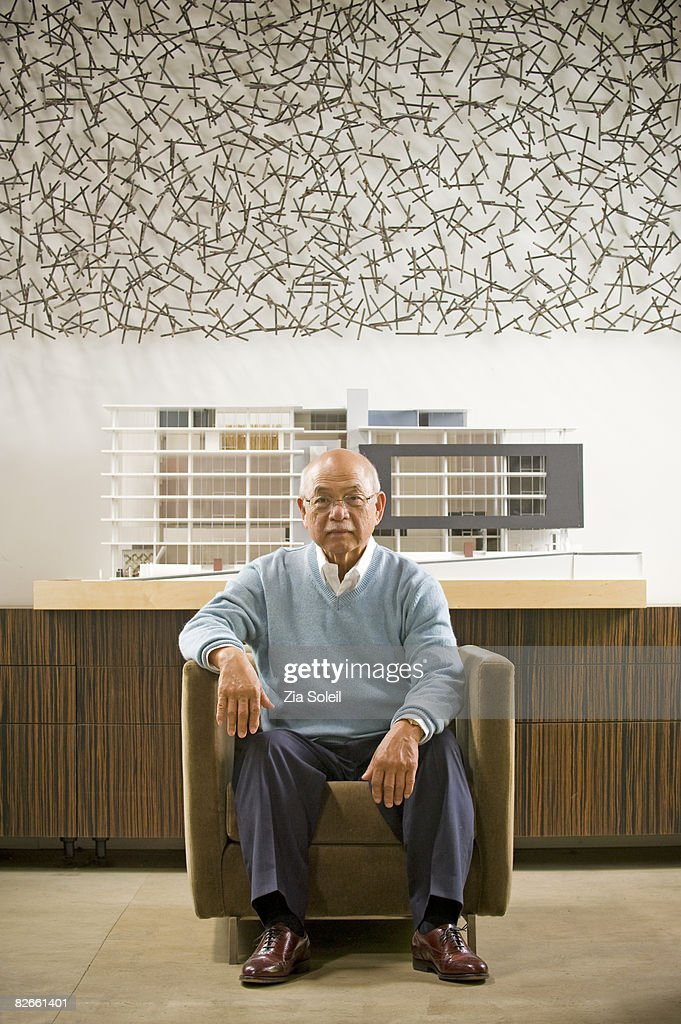 portrait of older architect in his offices : Stock Photo