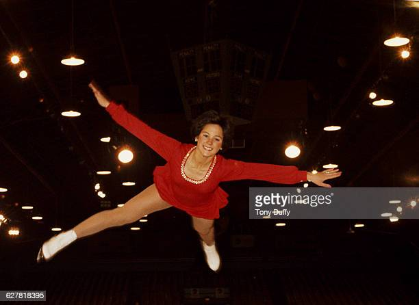Portrait of Olympic figure skater Dorothy Hamill of the United States before the ISU World Figure Skating Championships on 1 March 1975 in Colorado...