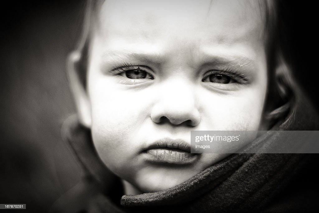 portrait of one year old girl : Stock Photo
