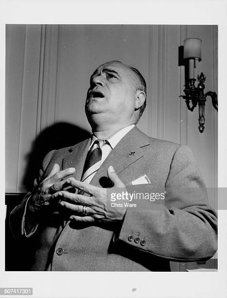 Portrait of opera singer Beniamino Gigli rehearsing at the Savoy Hotel in London September 1949