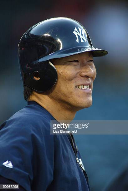 Portrait of outfielder Hideki Matsui of the New York Yankees during the game against the Anaheim Angels at Angel Stadium on May 20 2004 in Anaheim...
