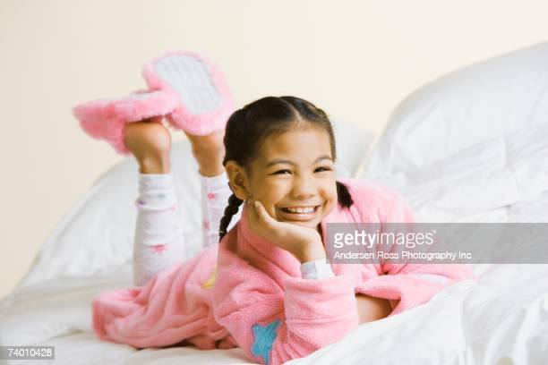 Portrait of Pacific Islander girl wearing pajamas