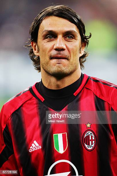 A portrait of Paolo Maldini of Milan prior to the UEFA Champions League quarterfinal second leg between Inter Milan and AC Milan at the San Siro...
