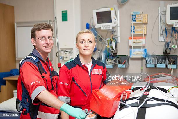 Portrait of paramedics in hospital