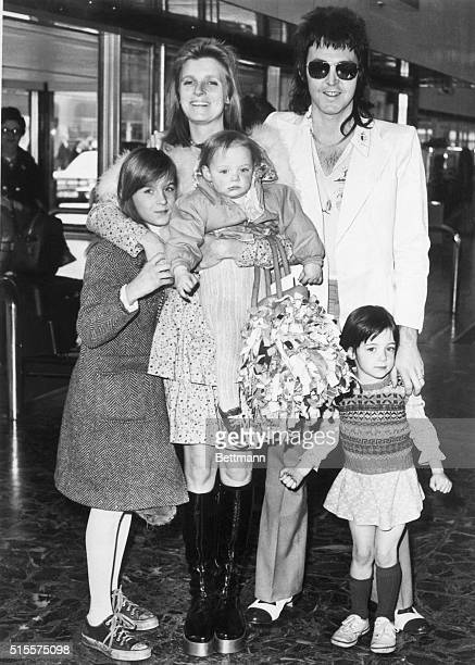A portrait of Paul McCartney with his wife Linda and daughters Heather 10 Mary 3 and Stella 1 at the airport in London just before leaving for...
