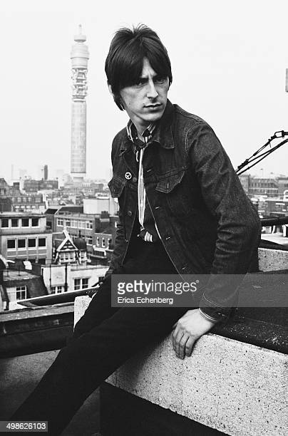 Portrait of Paul Weller of The Jam on the roof of Air Studios Oxford Street London during recording sessions for the band's final album 'The Gift'...