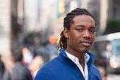 Portrait of pedestrian in city