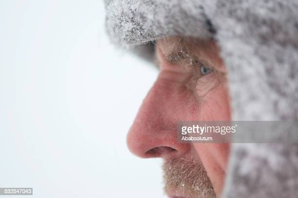 Portrait of Pensive Mauntain Senior Man, Snowing, Julian Alps, Europe