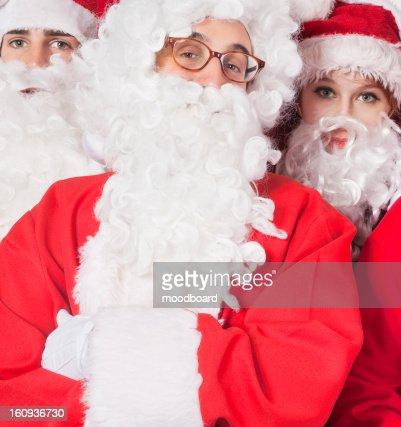 Portrait of people in Santa costume : Foto de stock