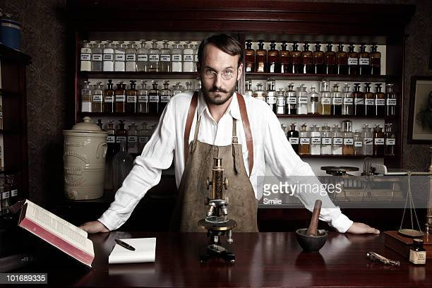 Portrait of pharmacist in antiquated lab