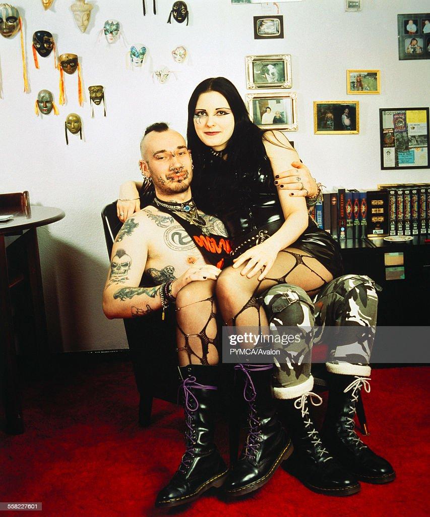 Portrait of Pierced Punk Goth Couple