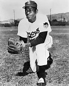 Portrait of pitcher Leroy 'Satchel' Paige former star pitcher in the Negro Leagues in uniform for the St Louis Browns of the American League July 14...