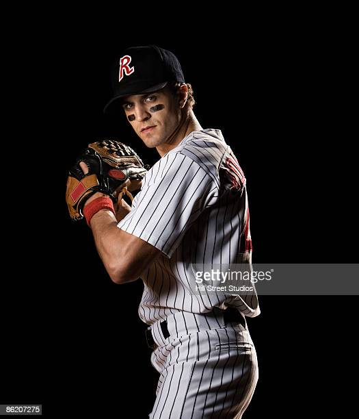 Portrait of pitcher preparing to throw ball