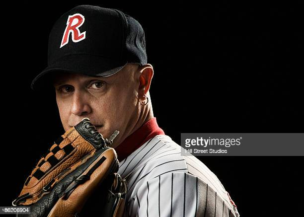 Portrait of pitcher with baseball glove