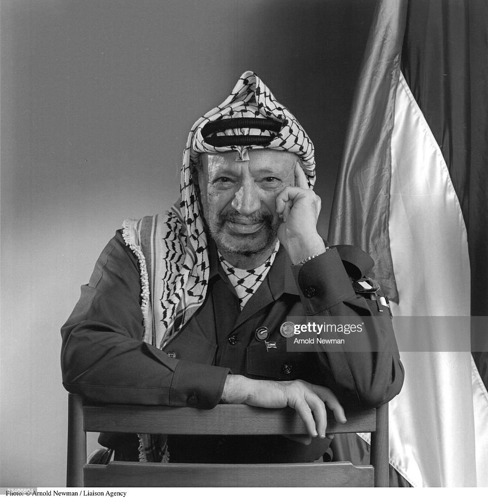 Premium Rates Apply. Minimum rate $500 USD. 385113 02: Portrait of P.L.O. leader <a gi-track='captionPersonalityLinkClicked' href=/galleries/search?phrase=Yasser+Arafat+-+Leader+politico&family=editorial&specificpeople=118625 ng-click='$event.stopPropagation()'>Yasser Arafat</a> December 9, 1993 in Tunis, Tunisia.