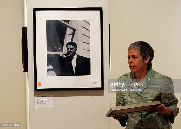 A portrait of Polaroid founder Edwin Land by US photographer Ansel Adams is displayed at Sotheby's during a preview of The Polaroid Collection in New...