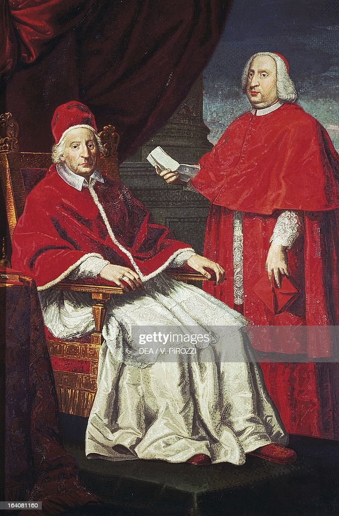Portrait of Pope Clement XII born Lorenzo Corsini Pope of the Catholic Church from 1730 to his death with Nero Maria Corsini Italian cardinal By...
