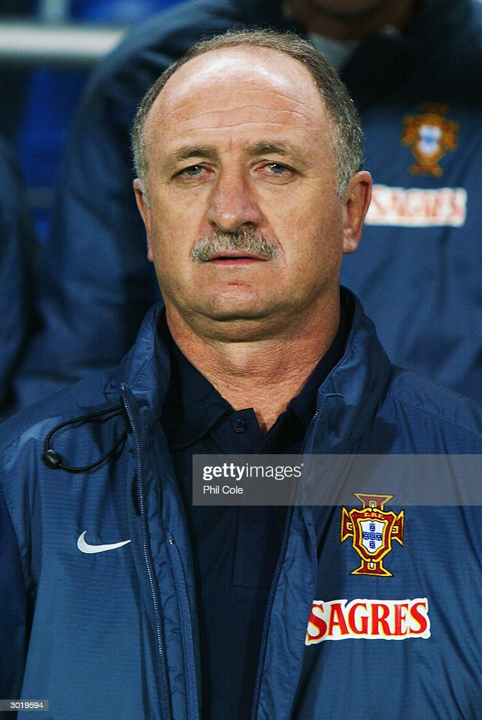 Portrait of Portugal coach <a gi-track='captionPersonalityLinkClicked' href=/galleries/search?phrase=Luiz+Felipe+Scolari&family=editorial&specificpeople=233747 ng-click='$event.stopPropagation()'>Luiz Felipe Scolari</a> taken during the International Friendly match between Portugal and England held on February 18, 2004 at the Faro-Loule Stadium, in Faro, Portugal. The match ended in a 1-1 draw.