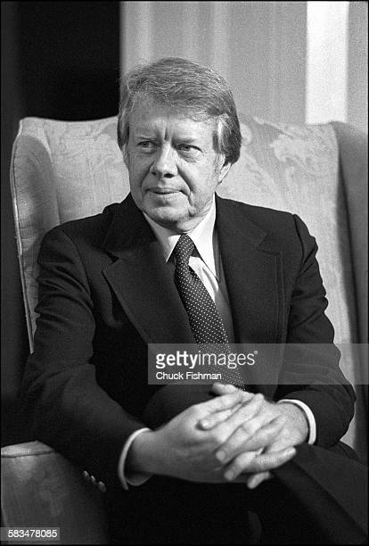 Portrait of president Jimmy Carter seated in the Oval Office in the White House Washington DC 1977