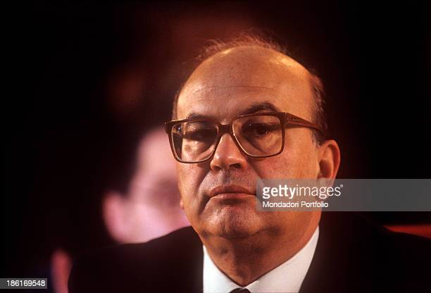 Portrait of President of the Council of Ministers of the Italian Republic and Secretary of the Italian Socialist Party Bettino Craxi 1980s