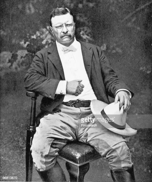 Portrait of President Theodore Roosevelt seated in garden circa 1910s