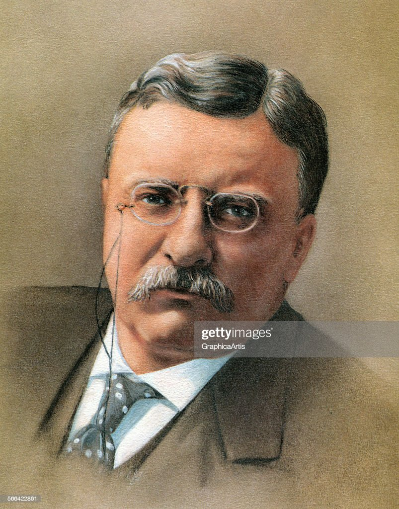 Portrait of President Theodore 'Teddy' Roosevelt screen print 1965