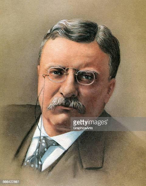Portrait of President Theodore 'Teddy' Roosevelt screen print 1965
