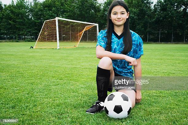 Portrait of preteen soccer player