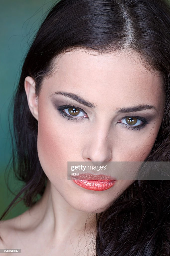 Portrait Of Pretty Young Woman Wearing Makeup Stock Photo | Getty Images