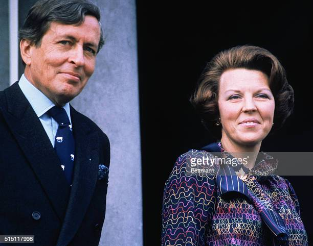 Portrait of Prince Claus of the Netherlands with his wife Crown Princess Beatrix