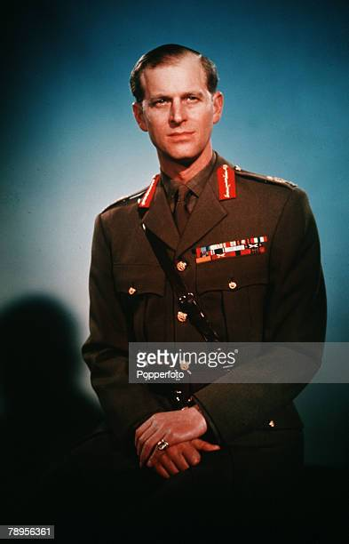 England A portrait of Prince Philip the Duke of Edinburgh is pictured in army uniform